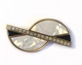 Vintage Art Deco Brooch Pin Black White Enamel Gold Tone Costume Jewelry 80s 90s