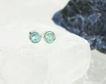 Tiny Stud Earrings Blue Apatite - Sterling Silver Wire Wrapped 3mm Gemstone Rounds - Inspiration, Intuition, Healing