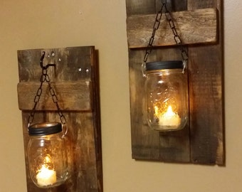 Mason Jar  Candle Holder, Rustic  Decor, sconces, Lanterns, Mason Jar Decor, Mason Jar candle, Rustic Wood Candle holder  priced 1 each