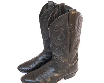 Cowboy Boots Vintage Black Justin 9.5 or 11, Justin Black Cowboy Boots 9.5 or 11, Clean Cowboy Boots Black 9.5 or 11, Justin Riding Boots