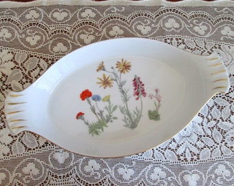 "Louis Lourioux Le Faune Fire Proof Oval Baker Augratin Casserole ""Wild Flower"" Pattern Made in France, French Porcelain Casserole"