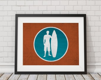 Orange and Turquoise Surfer Print 8x10, 11x14, 13x19
