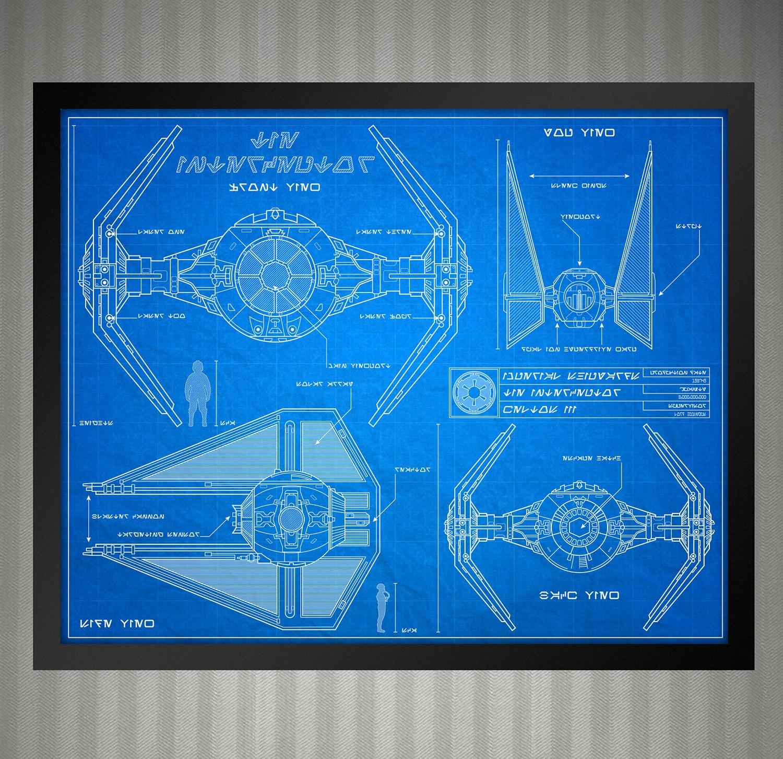 star wars blueprint style tie interceptor 8 x 10 print. Black Bedroom Furniture Sets. Home Design Ideas