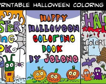 3 PDF Printable Digital Halloween Monster Coloring Books
