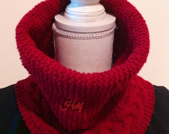 Cowl, Snood, Paisley, red, hand knitting, twist, unisex, luxurious gift idea, France cashmere, wool In France, Sweeden2 Hey Creation.