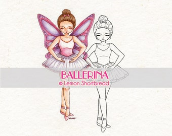 Digital Stamp Ballerina Ballet, Digi Download, Fairy Girl, Fantasy Spring, Clip Art, Coloring Page, Scrapbooking Supplies