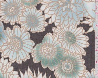 Black/Aqua Floral Silk Chiffon, Fabric By The Yard