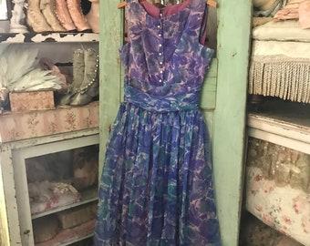 Vintage Retro Mid Century Dress Vivid Blue Purple Lavender Rhinestone buttons P4