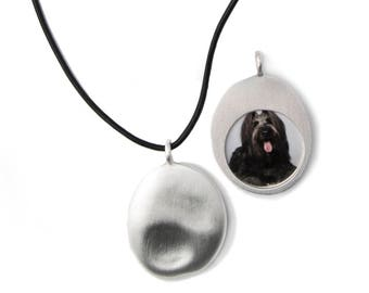 Silver Pet Photo Necklace on Leather (L)
