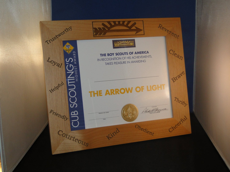 Laser engraved Arrow of Light picture frame