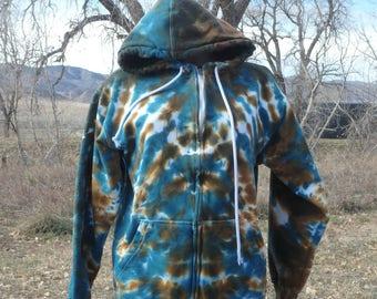 Browns and Blues Tie Dye Cotton Hoodie Medium