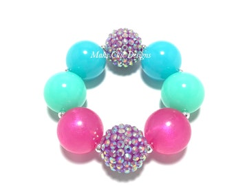 Toddler or Girls Neon Chunky bracelet - Neon Purple, Pink, Aqua and Blue Bracelet - Mermaid Chunky Bracelet - Unicorn Chunky Bracelet
