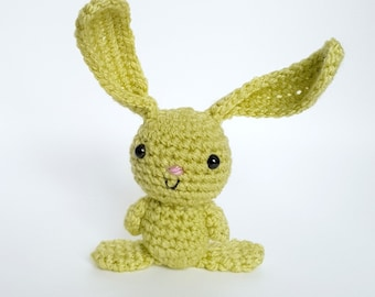 Green Crocheted Amigurumi Bunny in a Bed, Rabbit Toy, Bunny Toy
