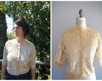 Vintage 80s Fancy Sequined Button Up Knit Cardigan Sweater