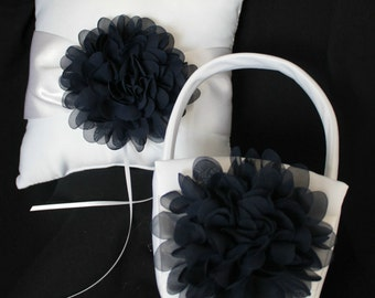 Cream or White Ring Bearer Pillow and Basket Chiffon Chrysanthemum in NAVY
