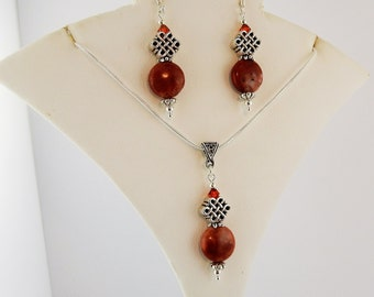 Ireland's Cork Marble, Silver Celtic Knot Earrings and Necklace Set