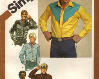 Simplicity 9886 Men's Western Shirt, Scarf & Tie YOKE VARIATIONS Size 40 / 15 1/2  ©1980 Embroidery Transfer