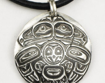 Haida Indian Eagle Fine Silver Necklace - NW Coast Indian Key Ring - Haida Eagle Pendant - Fine Silver Salish Eagle Talisman - NW Coast Gift