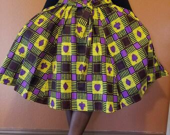 Authentic African print. Three quarter length skirt.