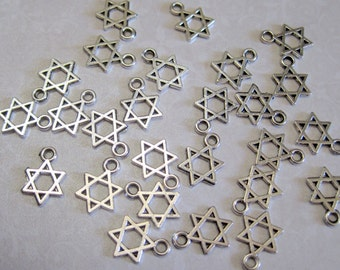 Tibetan Silver Star of David Charms - Set of 10 - 14x10mm