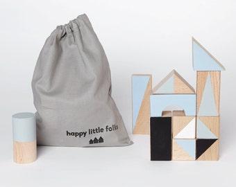24 wooden blocks in Winter colours packed in cotton bag - Toddler gift - Scandinavian nursery - Gift for kids - Building blocks