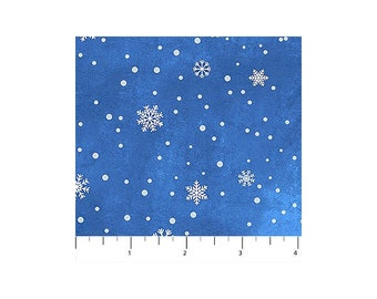 O Christmas Tree~Small Snowflakes/Med. Blue Cotton Fabric By Northcott