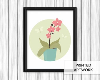 Potted Orchid and Dragonfly Print