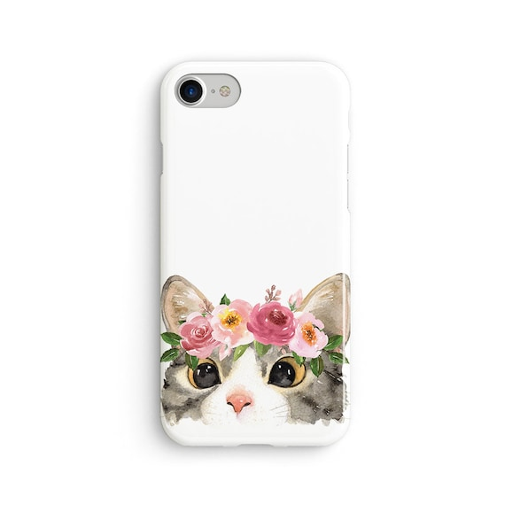 Floral headband cat iPhone X case - iPhone 8 case - Samsung Galaxy S8 case - iPhone 7 case - Tough case 1P094