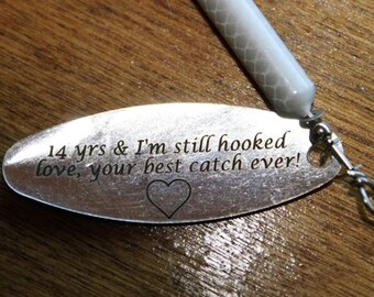Anniversary Gifts for Men Personalized Fishing Lure 1/2 Ounce Rooster Tail Gift Best Friend Gift For Him Or Boyfriend