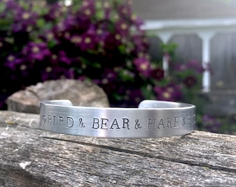 """Dark Tower """"Bird and Bear and Hare and Fish..."""" - hand stamped brushed aluminum 3/8"""" x 6"""" cuff with charm, Dark tower, Stephen King, Gift"""