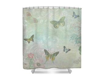 Butterfly Bathroom, Botanical Shower Curtain, Pastel Shower Curtain, Butterfly Bath, Pale Blue Bathroom, Bathroom Decor, Butterflies