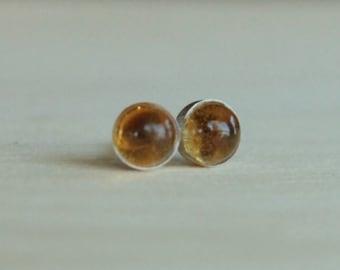 Citrine Gemstone 5mm Bezel Set on Titanium or Niobium Posts - Nickel Free & Hypoallergenic Stud Earrings for Sensitive Ears