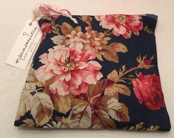 Pouch fabric flower bouquet and antique lace vintage