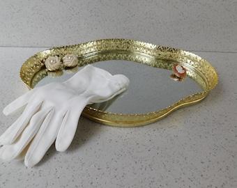Mid Century Mirrored Vanity Tray, Gold Filigree Mirror Tray, Dresser Tray, Bathroom Tray, Home Decor, Perfume or Jewelry Tray, Makeup Tray