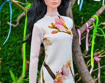ELENPRIV ivory flower printed pullover with mesh sleeves for Fashion royalty FR:16 and similar body size dolls