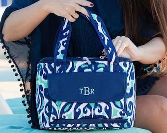 Monogrammed Mint Navy Large Lunch Bag Blue Trim