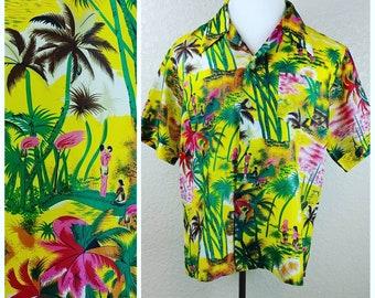 Sale *** MEMORIAL DAY SALE Vintage Cellini Tiki Hawaiian Shirt