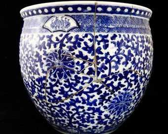 Blue and White Jardiniere - Qing dynasty - Kintsugi Art With Pure Silver - 金童纯银修复清代,蓝白色珍珠