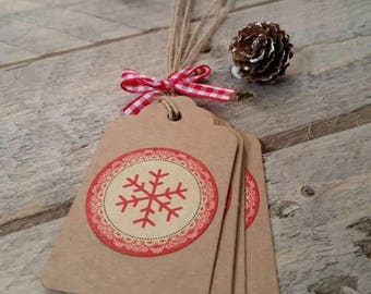 5 red snowflake Christmas Tags labels!