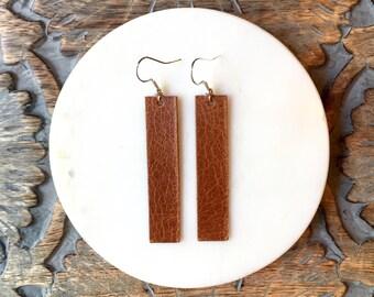 Saddle Leather Bar Earrings / Statement Earrings / Long Earrings / Brown Earrings / Leather Earrings
