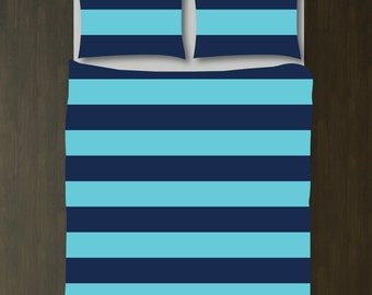 Custom Rugby Striped Duvet Bedding Set-Navy Blue and Aqua-Customize Colors You Want-Daybed-Twin XL-Full/Queen-King-Preppy Home Decor-Size