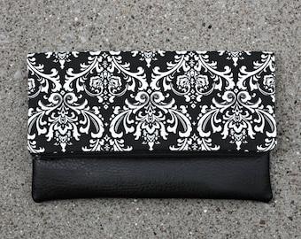 Black Damask Foldover Clutch / Kindle Case