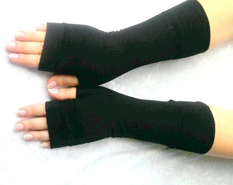 Fingerless  gloves  black  with cuffs,  practical color length gloves 10""