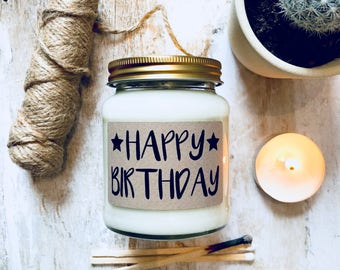 Happy Birthday Scented Natural Soy Candle , birthday gift , birthday candle
