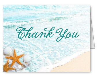 Qty 45 Beach Thank You Cards Notes Starfish Wedding Beach Cards with Envelopes / Ocean Theme Tropical Shower Note Folded Beach Bridal