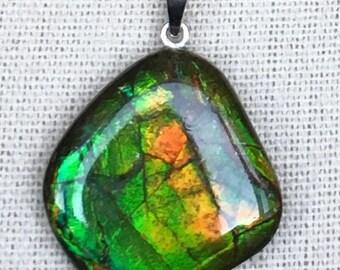 Ammolite Pendant, Bright Green