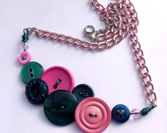 Vintage button necklace, button jewellery, up-cycled necklace, vintage jewellery, re-purposed necklace, green, pink, jade green