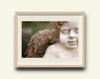 Angel photography print, Angelic fine art, fine art photography,  angel statue, nature photography, wall decor, nursery room decor, angelic