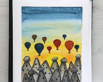 Original watercolor painting Cappadocia sunrise Hot air balloons Fairy Chimneys Illustration Wall decor