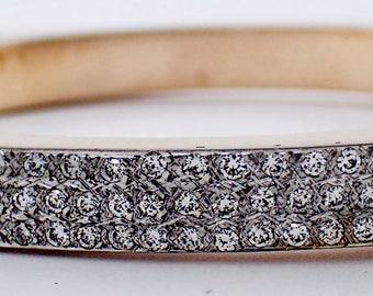 14K Hinged Geometric Bangle with 0.90 Carat Pavé Diamonds
